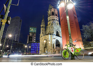 Nightlife and Kaiser Wilhelm Memorial Church in Berlin,...