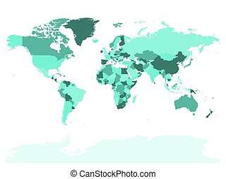 World map in four shades of turquoise on white background....