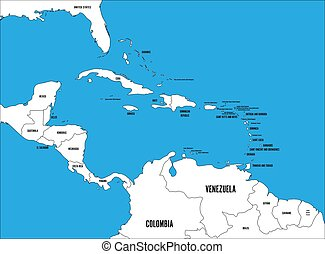 Central America and Carribean states political map. Black outline borders with black country names labels on blue background. Simple flat vector illustration