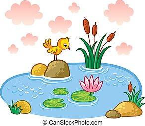 The bird is standing on a rock in a pond.