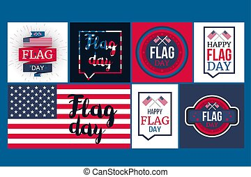 American Flag Day Banner and usa design elements set. Vector