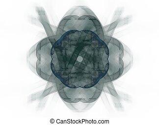 azul, flor, forma, cinzento, fazendo,  fractal,  3D