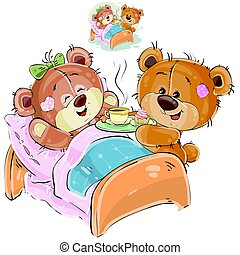 Vector illustration of a loving brown teddy bear brought a tray with breakfast and his girlfriend lying in bed