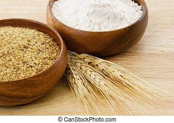 madeira, tigelas, farinha, &, trigo, germe