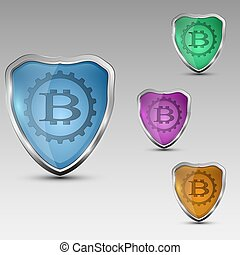 Shield with bitcoinemblem - Different colored shields with...