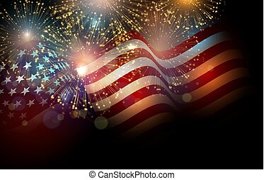 United States flag. Fireworks background for USA...