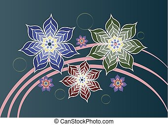 Large beautiful flowers on a background of pink ribbons.