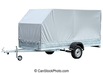 Spacious grey car trailer, isolated on white background. -...