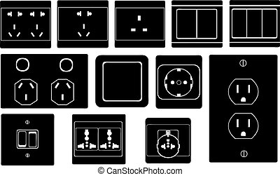 Set of different switches and sockets
