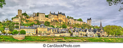Chinon castle above the Vienne river in France,...