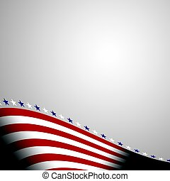 Abstract american background with waving striped flag and starry pattern.