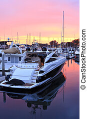 Boats in harbour at sunset