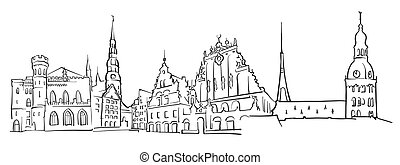 Riga Latvia Panorama Sketch