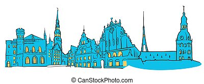 Riga Latvia Colored Panorama, Filled with Blue Shape and...