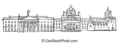 Dublin Ireland Panorama Sketch