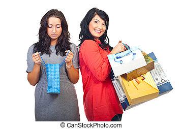 triste, feliz, mujeres, compras