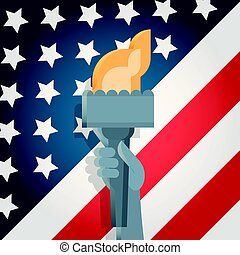 Liberty Statue Hand Holding Torch Over United States Flag Independence Day Holiday 4 July Banner