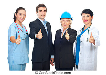 Different workers giving thumbs up - Four different workers...