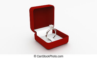 3D illustration silver gold ring with a diamond in a red box