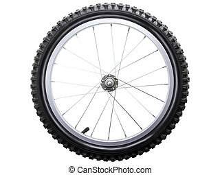 Bicycle wheel - Sport bicycle tire and spoke wheel while...