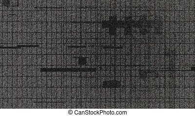 glitchy grid 3 - Grid with glitching lines and shapes on a...