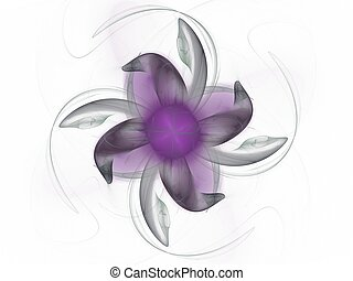 3D rendrering with grey purple abstract fractal with delicate flower