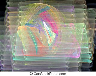 3D rendering with multi-colored abstract curves transparent waves