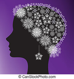 silhouette of a woman\'s head