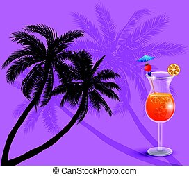 Summer background with palm trees and juice