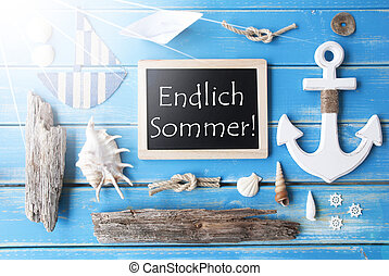 Sunny Nautic Chalkboard, Endlich Sommer Means Happy Summer -...