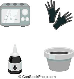Rubber gloves, ink and other equipment. Tattoo set...
