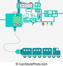 Factory and electric train - Electric supply of a train....