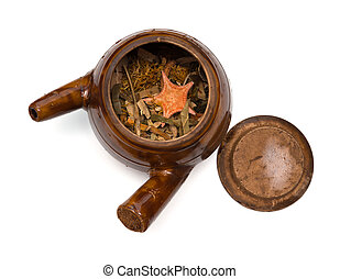 top view herbal in enamel pot on white background