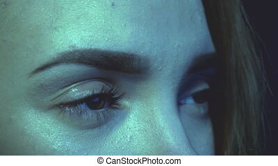 woman eyes at a computer monitor - Beautiful woman eyes at a...