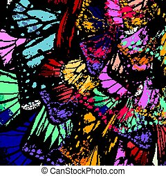 Butterfly wings in colorful style. Ideal for fabric...