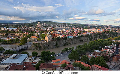 Bird eye view. Tbilisi. Georgia. - Panoramic view from...
