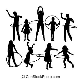 Girl with Hula Hoop Sport Activity Silhouettes, art vector...