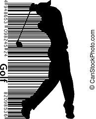 Silhouette of a golf player. Background and text on a...