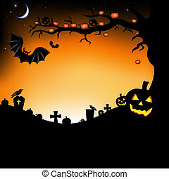 Halloween Illustration With Pumpkins, Bats, Cemetery And...