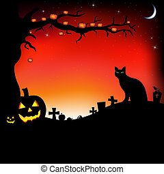 Halloween Illustration With Pumpkins, Black Cat, Cemetery...