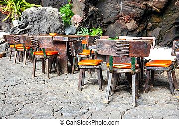 tabelas, vulcânico, jameos, cadeiras, caverna, Canário,...