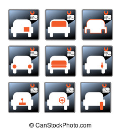 Car-care centre symbolics - Nine vector icons with car-care...