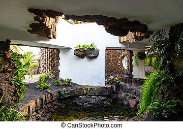 jameos,  Lanzarote, Canário,  del, Ilhas,  Agua, Espanha