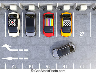 Aerial view of colorful EV charging at parking lot. Cars'...