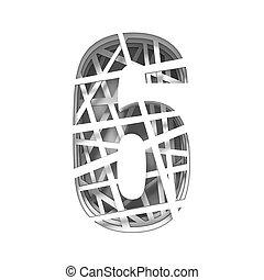 Paper cut out font number SIX 6 3D