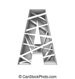 Paper cut out font letter A 3D