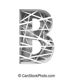 Paper cut out font letter B 3D