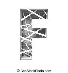 Paper cut out font letter F 3D