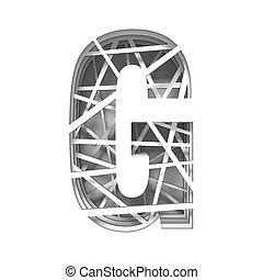 Paper cut out font letter G 3D