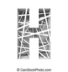Paper cut out font letter H 3D